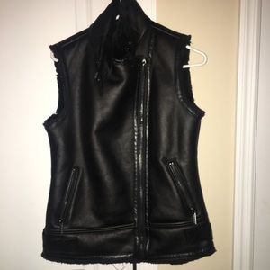Faux Leather and Shearling Moto Vest